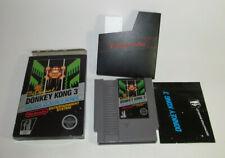 Donkey Kong 3 (1986) Complete CIB Nintendo NES Non Rev-A Nice Shape Hangtab