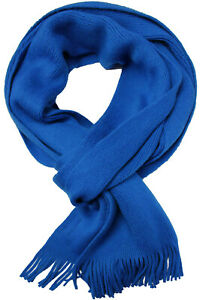 Strickschal aus 100% Wolle (Merino) uni royalblau Made in Germany