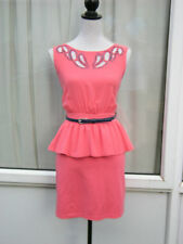 14 CORAL PEPLUM DRESS LITTLE MISTRESS BEAD + CUT OUT DETAIL CLUB PARTY CRUISE