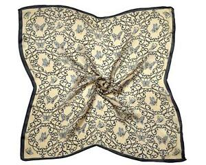 Grey Butterfly Printed Fine Small Silk Square Scarf (S3644)