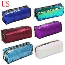 """Mermaid Sequin Pencil Case Bag Large Storage Pen Pouch For Student Office 8"""""""