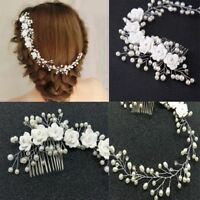 Flower Crystal Pearl Prom Hair Ornaments Hair Comb Bridal Headpiece Headband