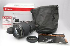 [Near Mint in Box] CANON MACRO LENS EF 100mm F/2.8 USM w/ Pouch From Japan