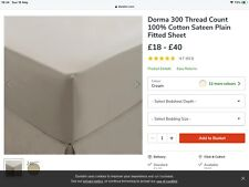 Dorma 300 Thread Count 100% Cotton Sateen Cream Plain Double Fitted Sheet