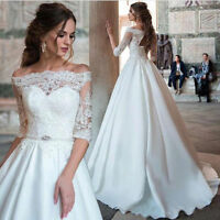White/Ivory Lace A Line Wedding Dress Off Shoulder Puffy Satin Bridal Ball Gown