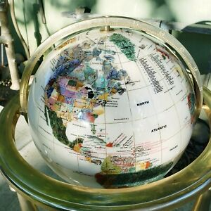 "VINTAGE ALEXANDER KALIFANO MOTHER OF PEARL GEMSTONE 36"" TALL WORLD FLOOR GLOBE"