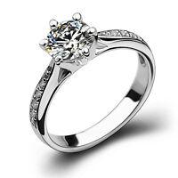 18k White Gold Filled Silver Base Women Wedding Bridal Engagement Ring R34