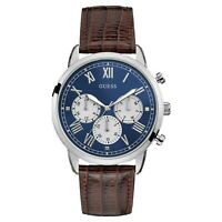 Guess Men's Hendrix Multi-Function Blue Dial & Brown Leather Watch W1261G1