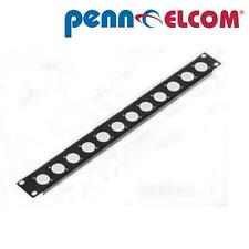 "1U Penn Elcom Rack Panel Punched for 12 x XLR or Speakon R1269/1UK/12 19"""