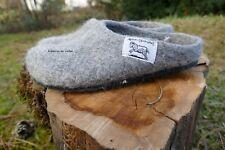 Filzpantoffeln Gr. 44 in naturgrau aus 100%heimischer Schafwolle