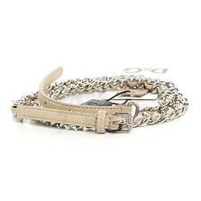 Dolce & Gabbana DC1676 Nude Leather & Chain Skinny Belt 30 75 NIB $270