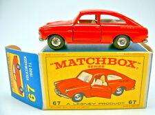 MATCHBOX rw 67b vw 1600tl rouge rare plaque de sol sans brevet numéro