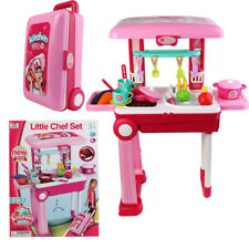2 in 1 Kids Kitchen Cooking Pretend Role Play Toy Set Suitcase Light Sound Gift