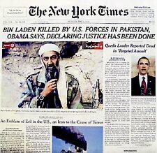 USA Kills Bin Laden 2011 Newspaper NY Times 5/2/11 WTC 9/11 Al Qaeda Rare VTG