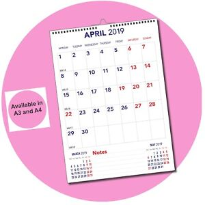 Fiscal Portrait Monthly Memo Calendar Year Planner April 2021-March 2022 A3/A4