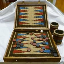 Nicely Hand Made Vintage Backgammon Game In A Wood Box W/ A Weaved Cloth Inside.