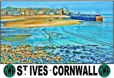 A3 Travel Art Print St Ives Cornwall  GWR  Poster