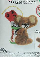 Xmas Ornament Jiffy Stitchery Embroidery Kit, KRIS KOALA PLAYS GOLF Bear