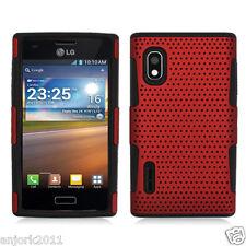 LG Optimus Extreme L40G Mesh Perforated Hybrid Case Skin Cover Red Black