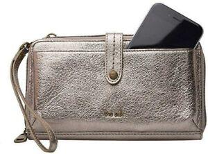 💯The Sak 3 in 1 Leather Phone Wallet Crossbody Leather Pyrite Metallic $79