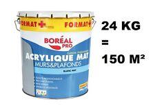 PEINTURE PRO BLANC MAT MURS PLAFONDS CHAMBRE SEJOUR SALLE MANGER 24KG = 150M²