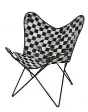 Chess Canvas Chair Iron Stand With Leather Cover for Indoor Outdoor