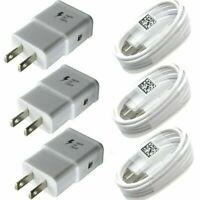 3PCS Fast Charger Wall Adapter USB/Type C Charging Cable For Samsung Cell Phone