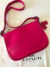 Coach Cerise Pink Glovetanned Leather Saddle Bag Crossbody Messenger 55298 NWT