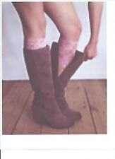 Stretch Lace Boot Cuffs Leg Warmers Pink Trim Toppers Socks