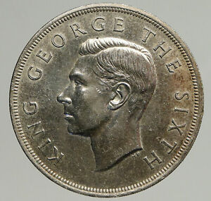1949 NEW ZEALAND King George VI FERN PLANT UK Vintage Silver Crown Coin i93748