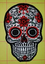 SUGAR SKULL DAY OF THE DEAD MOTORCYCLE BIKER EMBROIDERED VEST PATCH IRONONWHITE