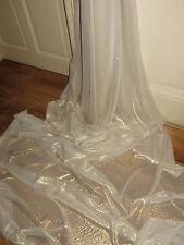 """1M  self print   Chiffon ivory silver  shimmer soft dress chiffon  58"""" WIDE"""
