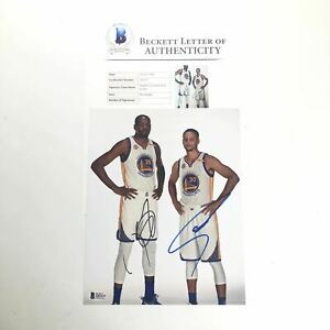 Stephen Curry Kevin Durant signed 8x10 photo BAS Beckett LOA Warriors