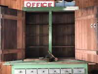Early AAFA Antique Folk Art Cabinet Cupboard Orig. Green Pennsylvania Farmhouse