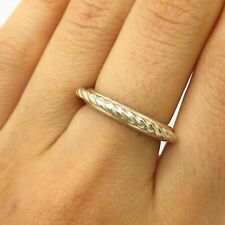 Vtg Rothrock 925 Sterling Silver Twisted Rope Design Ring Size 6 3/4