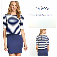 Plus Size 22 Blue White Stripe Simply Nautical DRESS 2 in 1 Top Skirt Be £27