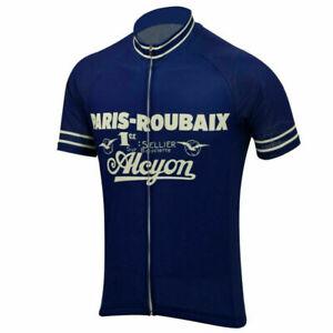 Retro Team Alcyon Paris Roubaix Cycling Jersey Vintage Short Sleeve Bike Pro