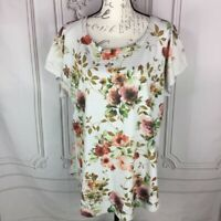 SJS Womens Plus Size 3X Ribbed Top Floral Short Sleeve Scoop Neck Stretch Hi/Lo