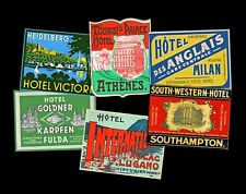 Luggage Label Stickers, 6 Steamer Trunk & Suitcase Decals, REPRODUCTIONS