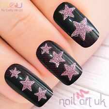 Pink Glitter Star Nail Stickers, Decals, Art, Tattoos 01.02.092
