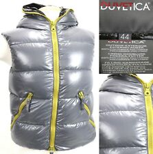 Duvetica Women's $450 Goose Down Hooded Winter Vest Size 44 Medium Full Zip Gray
