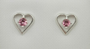 Genuine Gemstone Birthstone Heart Earrings - St Silver