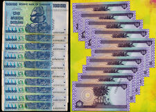 10 x 1 Million Zimbabwe Dollars Bank Notes + 10 x 50 Iraq Dinars Banknotes Lot