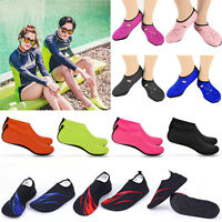 Men Women Skin Water Shoes Aqua Beach Yoga Exercise Pool Swim Slip On Socks Size