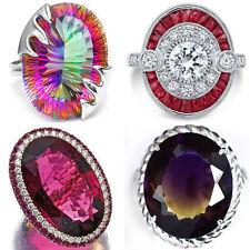 925 Silver Women Man Fashion Ruby Ametrine  Wedding Engagement Ring Size 6-10
