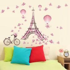 Creative Paris Eiffel Tower Pink Butterflies Kids Wall Sticker For Rooms #AM8