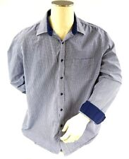 Tasso Elba Mens Shirt Size XL Blue & White Check Flip Cuff Button Down Dress EUC