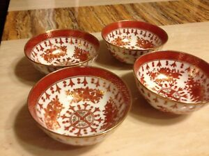 Set of 4 Japanese Bowl Hand Painted Decorated for Stix Baer and Fuller