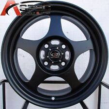 15X7 ROTA SLIPSTREAM RIMS 5X114.3 BLACK WHEELS FITS 5 LUG MR2 PRELUDE TYPE R RSX