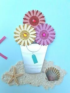PAPYRUS Blank Card:  3D Beach Bucket Sand, Shells Starfish  Flowers Pink Ribbon